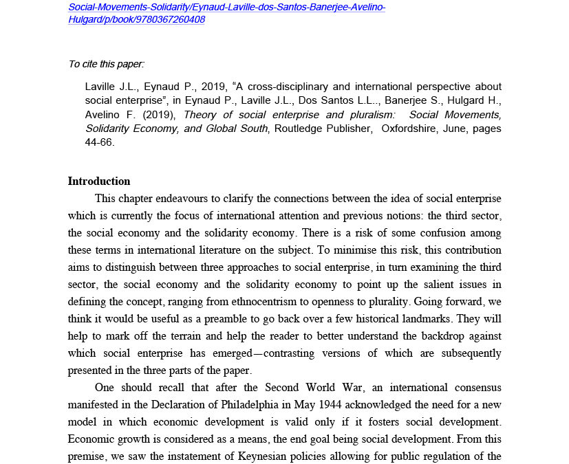 A cross-disciplinary and international perspective about social enterpri
