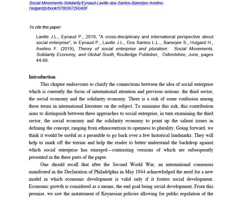 A cross-disciplinary and international perspective about social enterpri