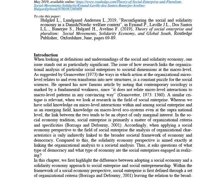 Reconfiguring the social and solidarity economy in a Danish/Nordic welfare context